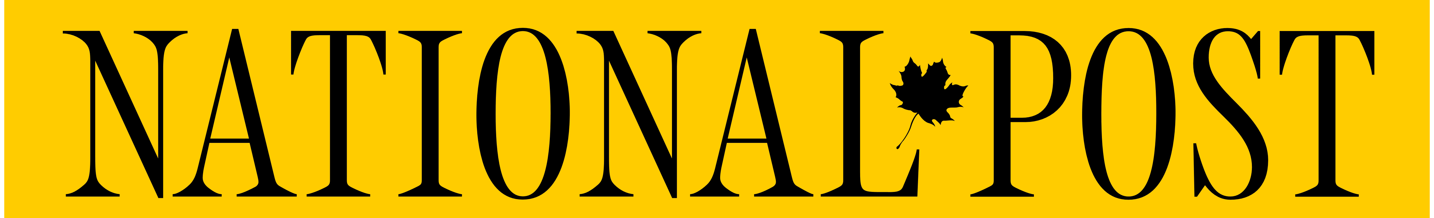 national post logo in black letters on yellow background