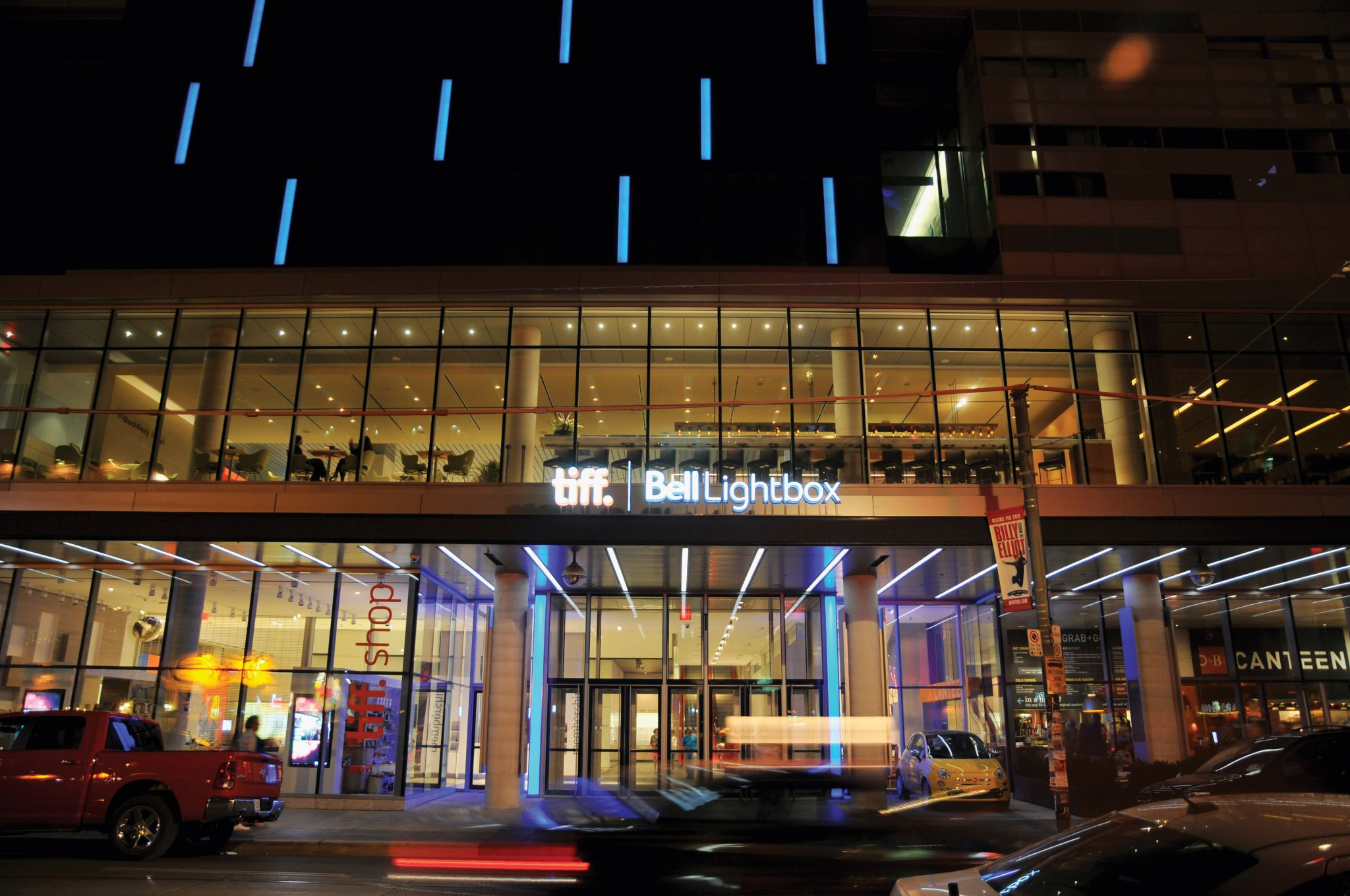 Tiff Bell Lightbox at night exterior shot