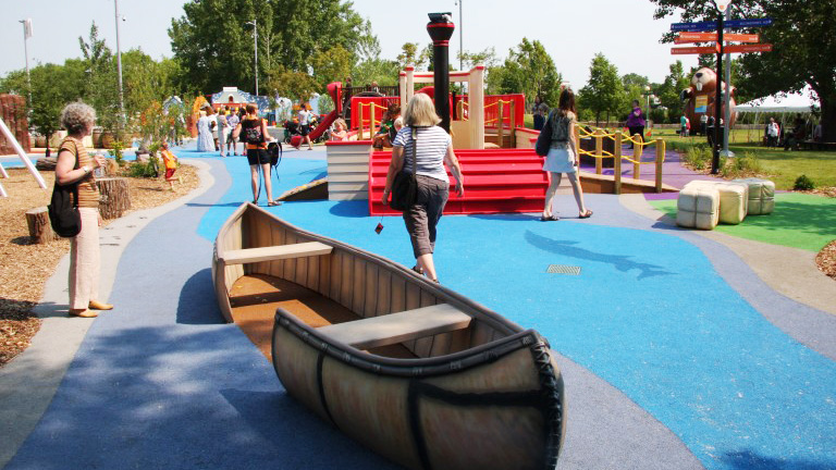 accessible canoe on playground