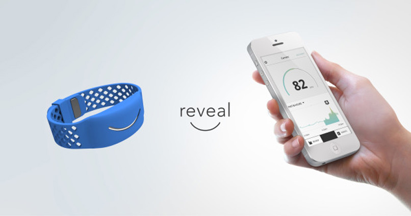 product shot of blue wristband and iPhone app