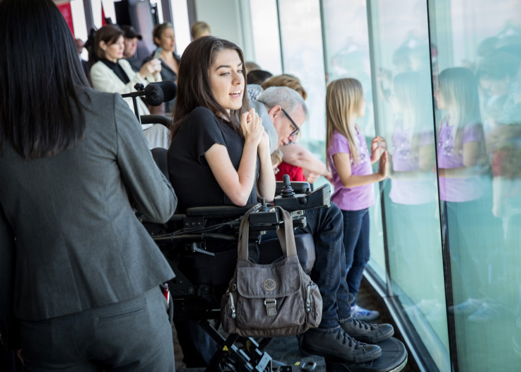 maayan smiles at the opening of the cn tower windows