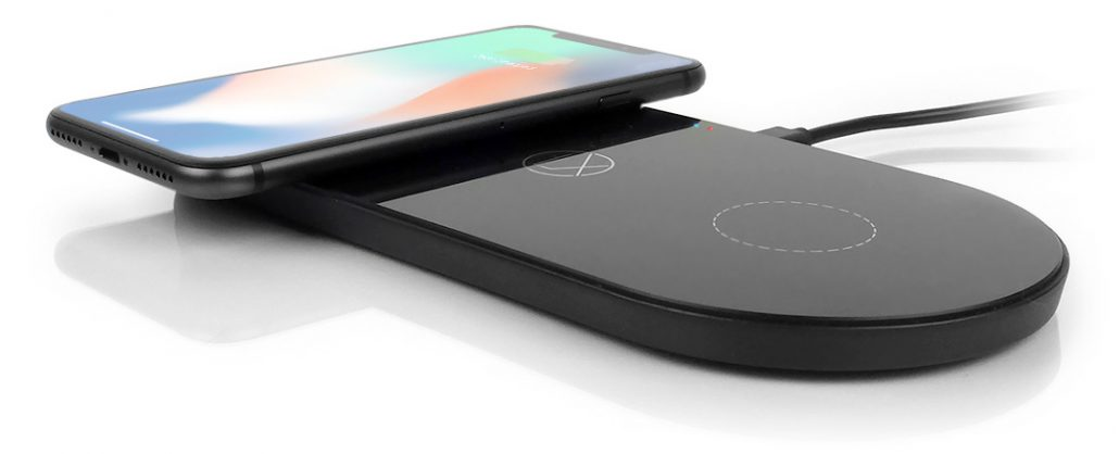 mobile phone charging on a charge pad