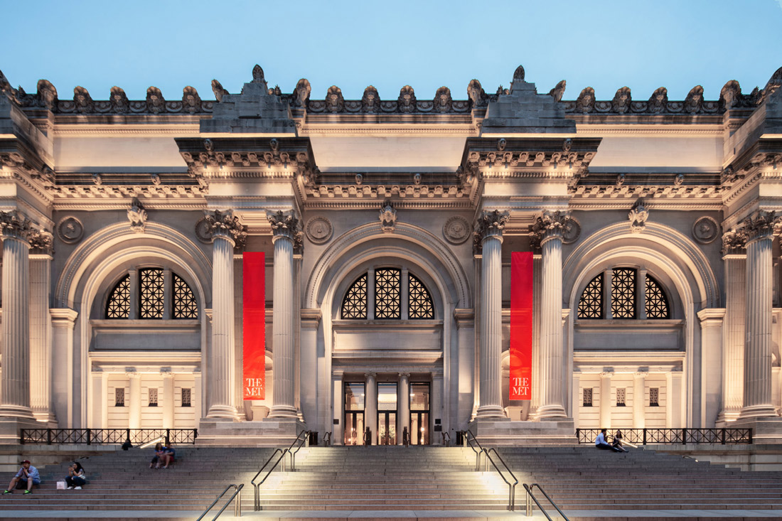 exterior front entrance of the met museum