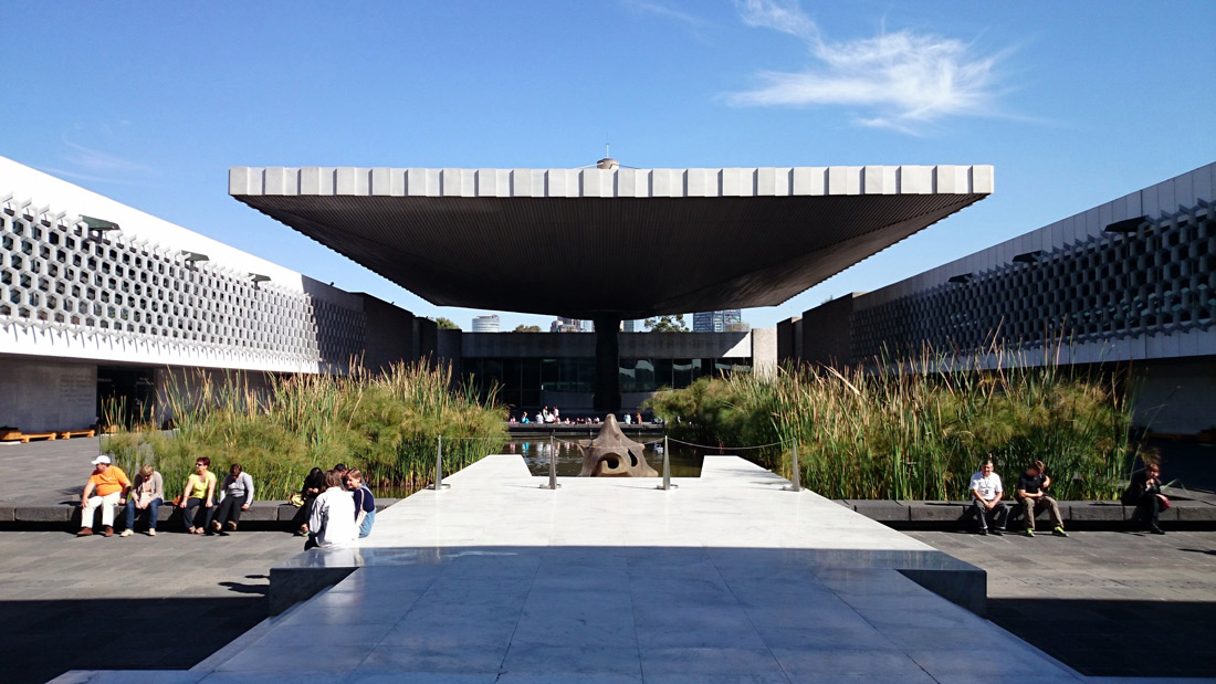 exterior entrance of museum of anthropology in mexico