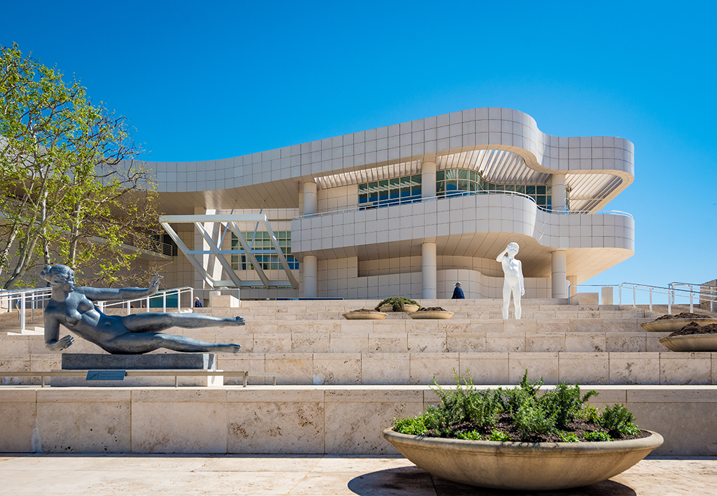 exterior image of the getty museum in the sun