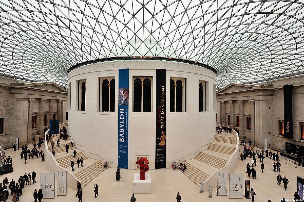interior of british museum, light blue glass ceiling